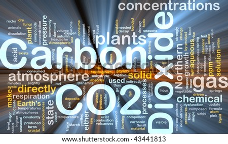 Background concept illustration of carbon dioxide co2 gas glowing light - stock photo