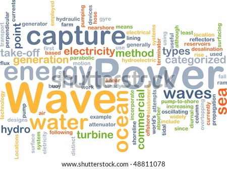 Background concept illustration of sustainable wave power - stock photo