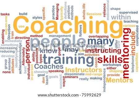 Background concept word cloud illustration of coaching - stock photo