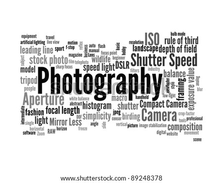 Background concept word cloud illustration of photography - stock photo