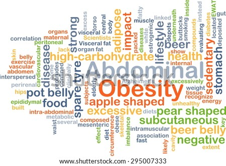 Background concept wordcloud illustration of abdominal obesity