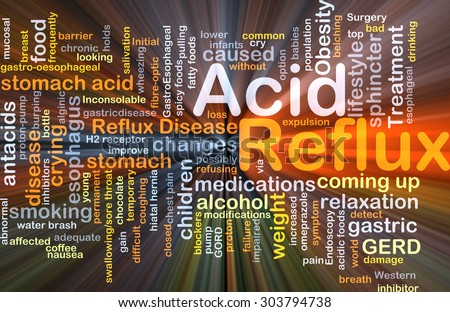 Background concept wordcloud illustration of acid reflux glowing light