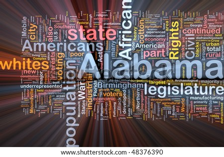 Background concept wordcloud illustration of Alabama American state glowing light