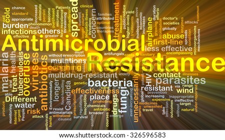 Background concept wordcloud illustration of antimicrobial resistance glowing light