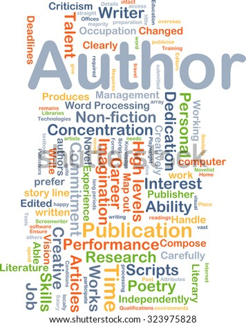 Background concept wordcloud illustration of author - stock photo