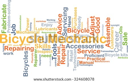 Background concept wordcloud illustration of bicycle mechanic