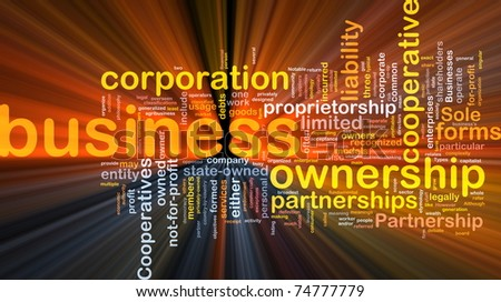 Background concept wordcloud illustration of business corporation ownership glowing light - stock photo