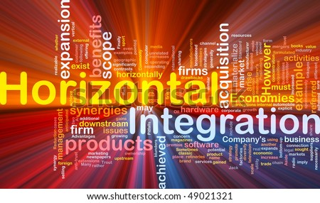 Background concept wordcloud illustration of business horizontal integration glowing light - stock photo