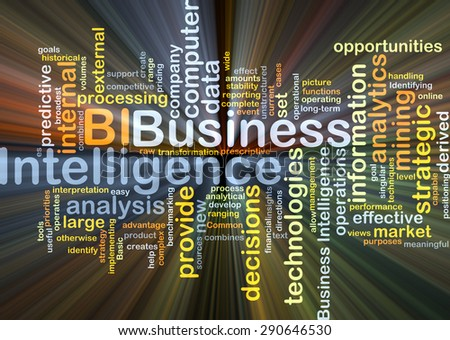 Background concept wordcloud illustration of business intelligence BI glowing light - stock photo