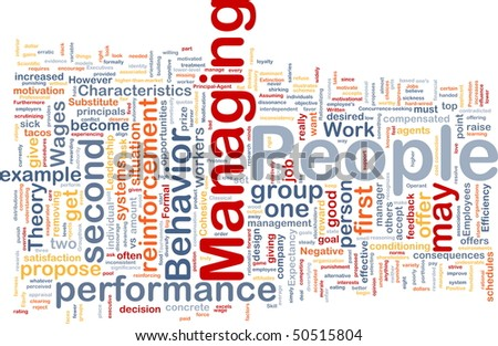 Background concept wordcloud illustration of business managing people - stock photo