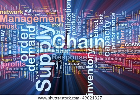 Background concept wordcloud illustration of business supply chain glowing light - stock photo