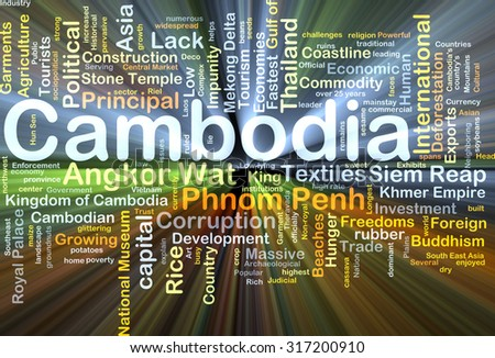 Background concept wordcloud illustration of Cambodia glowing light