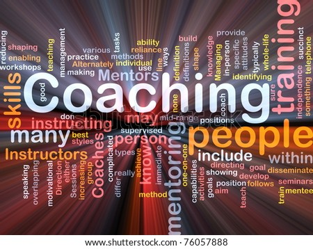 Background concept wordcloud illustration of coaching glowing light - stock photo