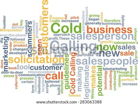 Background concept wordcloud illustration of cold calling - stock photo