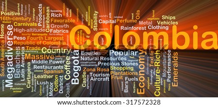 Background concept wordcloud illustration of Colombia glowing light