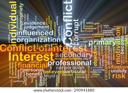 Background concept wordcloud illustration of conflict of interest glowing light