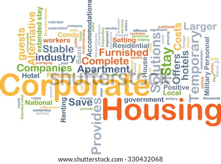 Background concept wordcloud illustration of corporate housing
