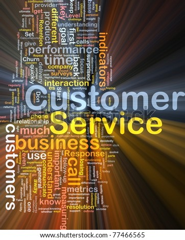 Background concept wordcloud illustration of customer service glowing light - stock photo