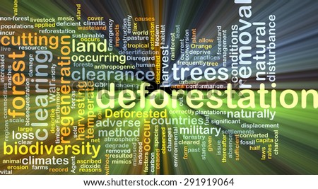 Background concept wordcloud illustration of deforestation glowing light