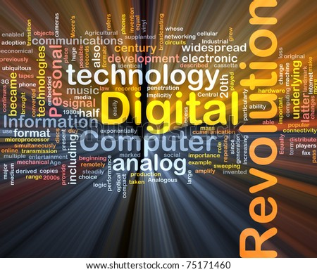 Background concept wordcloud illustration of digital revolution glowing light