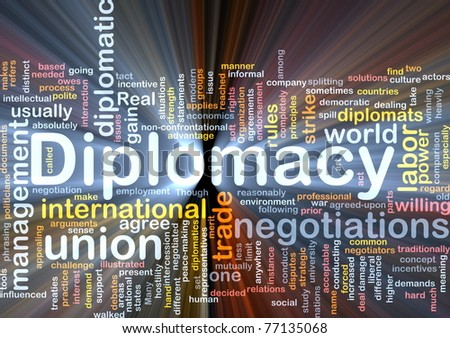Background concept wordcloud illustration of diplomacy glowing light