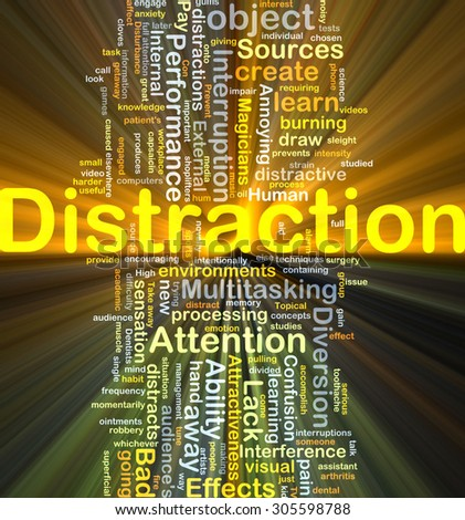Background concept wordcloud illustration of distraction glowing light - stock photo