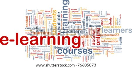 Background concept wordcloud illustration of e-learning - stock photo