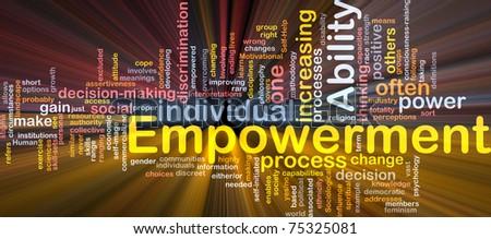 Background concept wordcloud illustration of enpowerment glowing light - stock photo