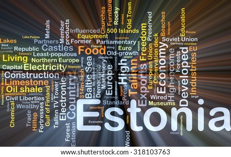 Background concept wordcloud illustration of Estonia glowing light