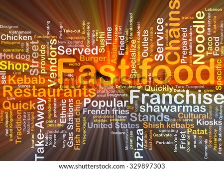 Background concept wordcloud illustration of fast food glowing light