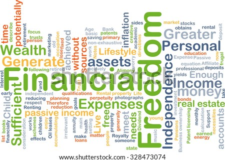 Background concept wordcloud illustration of financial freedom - stock photo