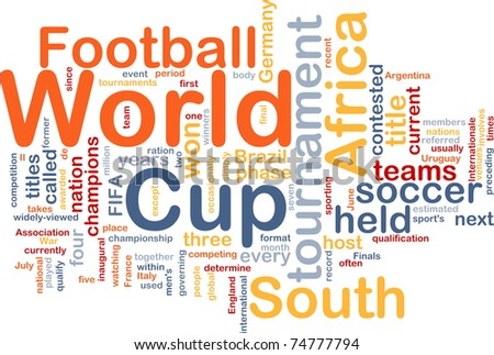 Background concept wordcloud illustration of football soccer world cup - stock photo
