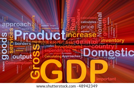 Background concept wordcloud illustration of GDP domestic economy glowing light - stock photo
