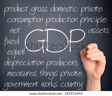 Background concept wordcloud illustration of GDP handwritten on dark background