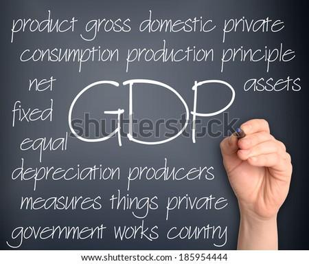 Background concept wordcloud illustration of GDP handwritten on dark background - stock photo