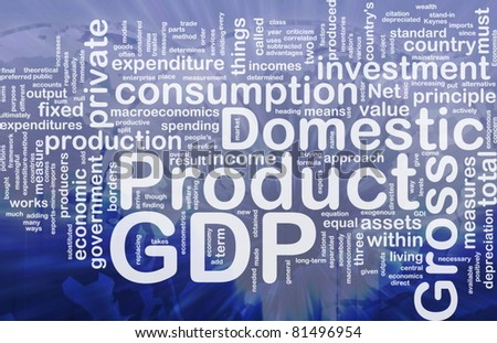 Background concept wordcloud illustration of GDP international - stock photo