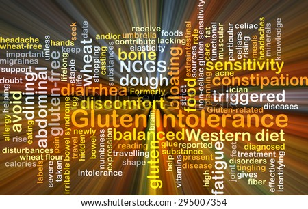 Background concept wordcloud illustration of gluten intolerance glowing light