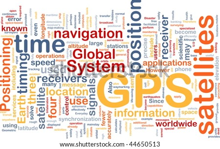 Background concept wordcloud illustration of GPS Global positioning - stock photo