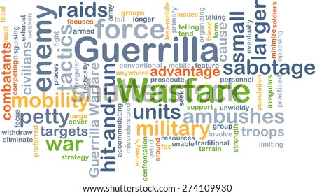 Background concept wordcloud illustration of guerrilla warfare - stock photo