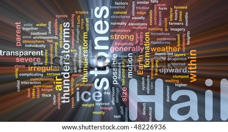 Background concept wordcloud illustration of hail stones weather glowing light