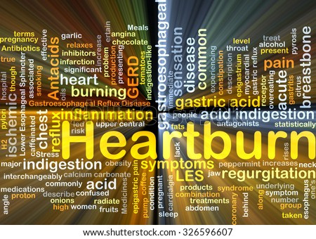 Background concept wordcloud illustration of heart burn glowing light