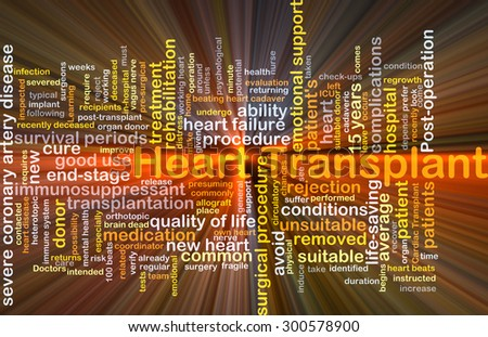 Background concept wordcloud illustration of heart transplant glowing light