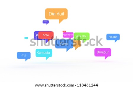 Background concept wordcloud illustration of hello (greet people) different languages - stock photo