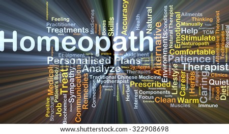 Background concept wordcloud illustration of homeopath glowing light - stock photo