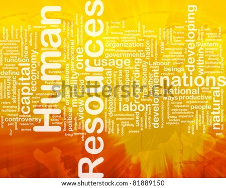 Background concept wordcloud illustration of human resources international - stock photo
