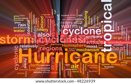 Background concept wordcloud illustration of hurrican cyclone weather glowing light