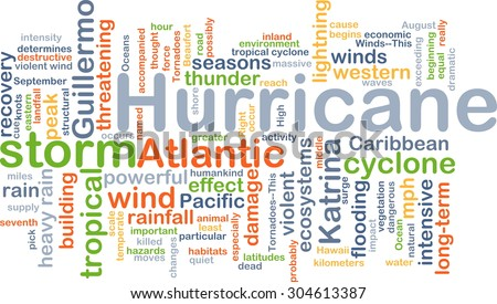 Background concept wordcloud illustration of hurricane