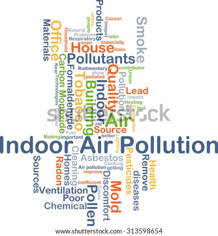 Background concept wordcloud illustration of indoor air pollution - stock photo