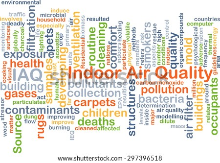 Background concept wordcloud illustration of indoor air quality IAQ - stock photo