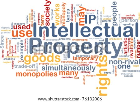 Background concept wordcloud illustration of intellectual property - stock photo